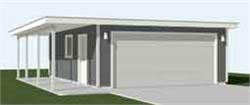 Garage Plans: Two Car Flat Roof Garage With Side Porch