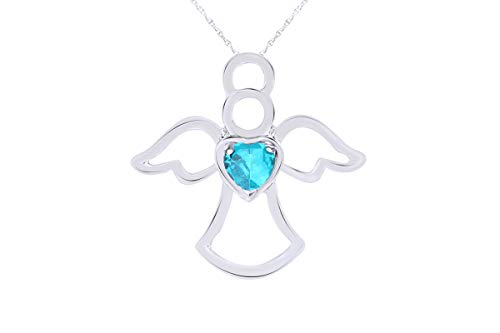 - Heart Shape Simulated Blue Topaz Angel Pendant Necklace in 10K Solid White Gold