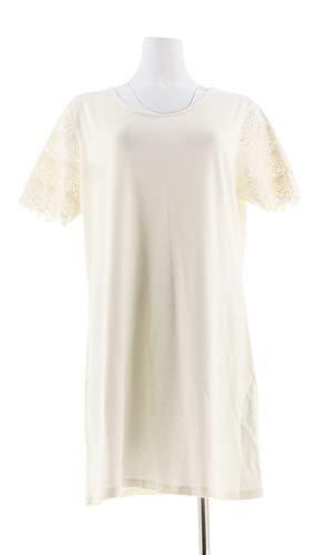 Liz Claiborne NY Lace SLV T-Shirt Dress Cream PM New A253413 ()