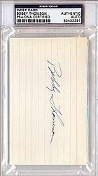(Bobby Thomson Signed 3x5 Index Card - PSA/DNA Authentication - Autographed MLB Baseball Cut Signatures)