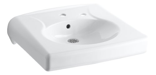 KOHLER K-1997-1R-0 Brenham Wall-Mount Bathroom Sink with Single-Hole Faucet Drilling and Soap Dispenser Hole on The Right, White (Mount Sink Lavatory Wall)