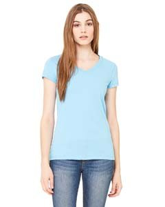 Bella Ladies Short Sleeve V-Neck Jersey T-Shirt. 6005 - Small - Baby Blue