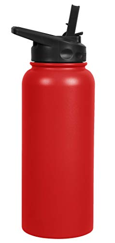 FIFTY/FIFTY Sport Water Bottle, Straw Cap with Wide Mouth, 34 oz/1 Large, Cherry Red 34 Oz Sports Bottle
