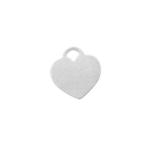 Kettenanhänger Herz, blanko, zum Prägen, Sterling-Silber, 12,5x12mm, 1 Stück