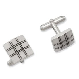 Best Quality Free Gift Box Rhodium-plated Square Double Lines Cuff Links