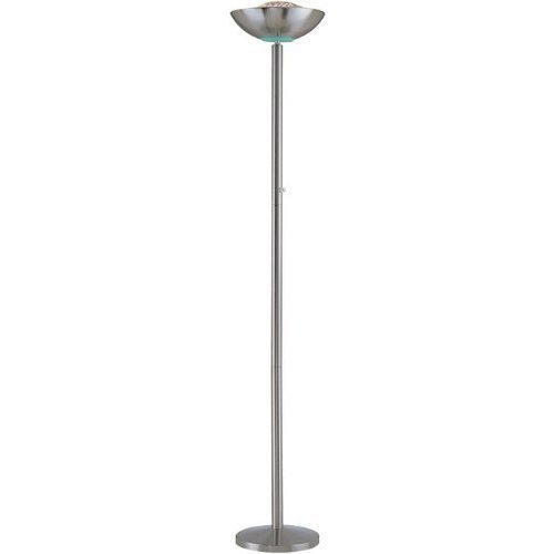 Basic Polished Steel Finish Engineer Halogen Torchiere Floor Lamp