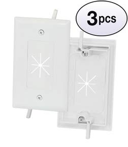 GOWOS (3 Pack) 1-Gang Feed-Through Wall Plate with Flexible Opening, White