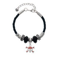 Skull and Crossbones with Red Crystals Beaded Love Luck Bracelet
