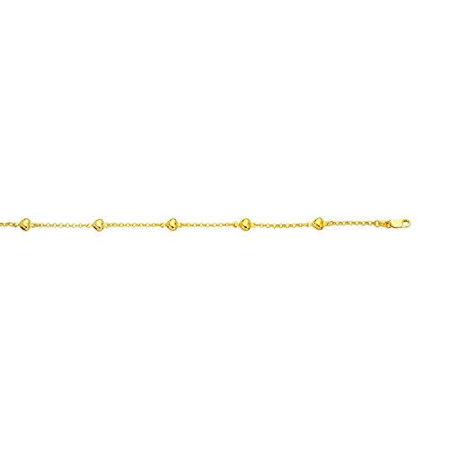 14k Yellow Gold 10 Inch Polish Finish Heart Rolo Anklet Bracelet by Diamond Sphere