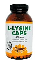 Country Life L Lysine 500 mg w/B 6