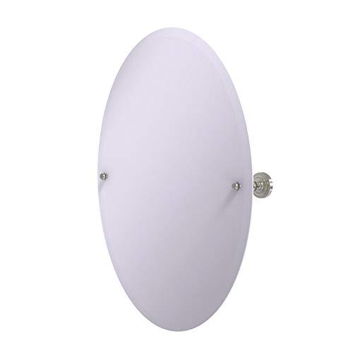 Allied Brass DT-91 Frameless Oval Tilt Beveled Edge Wall Mirror, Satin - Allied Brass Frameless Oval Bathroom Beveled Tilt Mirrors