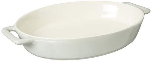 LE REGALO Stoneware Oval Baking Dish, 14x9.5x2.5, White Deep Oval Baking Dish