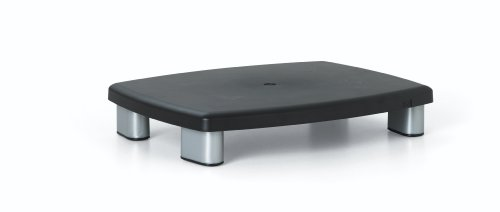 3M Adjustable Monitor Stand, Height Adjusts 1 in to 5 7/8 in, Holds 80 lbs, 11 in Space Between Columns, Silver/Black