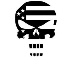 Punisher Skull American Flag Decal PREMIUM White 5inch | Molon Labe | Sniper | Military | III% | Truck SUV Motorcycle Helmet Vans| Wall Art | Laptop Notebook Tablet (Helmet Flag Motorcycle)