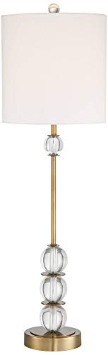 (Halston Brass Metal Buffet Table Lamp with Crystal Accents - Vienna Full Spectrum)