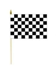 Checkered Black & White Large 12 X 18 Inch Racing Stick Flag Banner on a 2 Foot Wooden Stick .. Great Quality Polyester ... New
