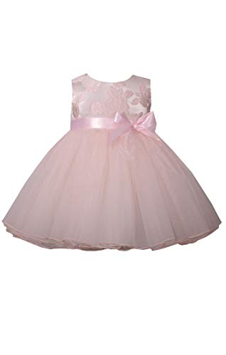 Bonnie Jean Pink Baby Dress with Bow, Sleeveless Jacquard Special Occasion Formal Dress for Baby and Toddler (2T)