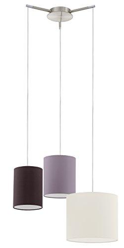 EGLO Hängeleuchte Modell Tombolo /3, nickel matt / creme / taupe / braun 92755 E