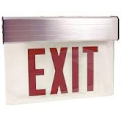 Elco Lighting EDGLIT1R Transparent Edge Lit LED Exit Sign Green or Red Letters Single or Double Face