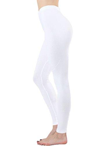 JNTOP Elasticized Waist Cotton Leggings White Medium