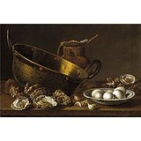 Polyster Canvas ,the High Resolution Art Decorative Canvas Prints Of Oil Painting 'Melendez Luis Egidio Ostras Ajos Huevos Perol Y Jarra 1772 ', 20 X 30 Inch / 51 X 77 Cm Is Best For Laundry Room Artwork And Home Decor And Gifts