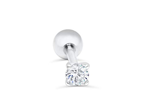 amond 3mm Cz Stainless Steel Round Circle Ball Ear Barbell Ball Stud Earring Piercing ()