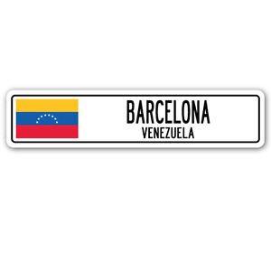 BARCELONA, VENEZUELA Street Sign Sticker Decal Wall Window Door Venezuelan flag city country 8.25 x 2.0