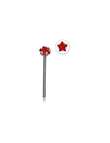 Bubble Body Jewelry Surgical Steel Straight Prong Set Star Jeweled Nose Stud 15Mm 1mm Gauge 18g 3/64