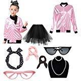 (Dorigan 1950s Child Pink Ladies Jacket Costume with Tutu Skirt (Rhinestone Pink, S))