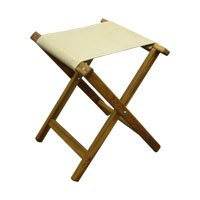 Plantation Teak Folding Camp Stool with Canvas Seat by Teakworks4u