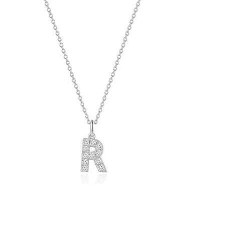 - Carleen White Gold Plated 925 Sterling Silver CZ Cubic Zirconia Initial Letter Pendant Necklace for Women Girls, 16