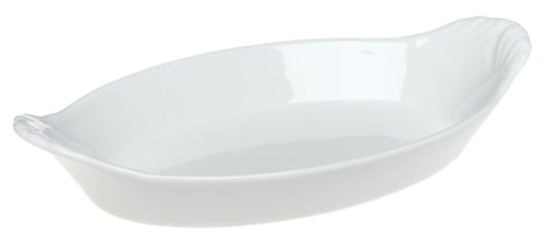 Pillivuyt Porcelain 10-by-6-1/4-Inch Oval-Eared Dish