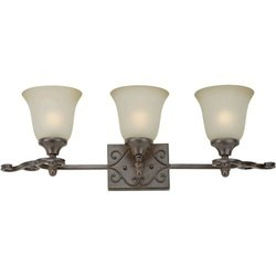 Forte Lighting 5327-03-27 Traditional 3-Light Vanity Fixture, Black Cherry Finish with Shaded Umber Glass