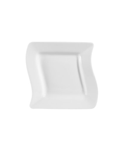 CAC China MIA-6 Miami 6-3/4-Inch Bone White Porcelain Square Plate ...
