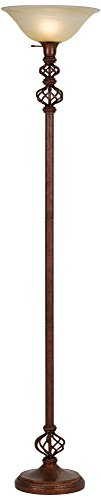 Open Frame Accent Wrought Rust Torchiere Floor Lamp by Cal