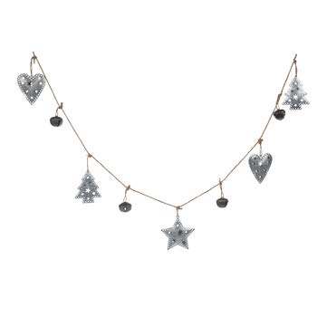 H&L Metal Christmas Trees Stars Hearts and Rustic Jingle Bells Tree Garland Farmhouse 6 FT Length