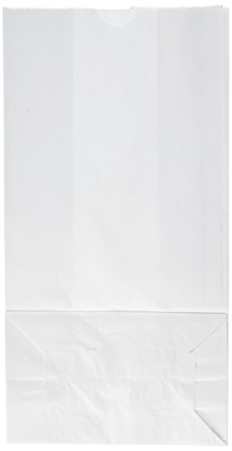 School Smart Pinched Bottom Paper Bags - 7 x 13 - Pack of 50 - White by School Smart