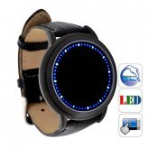 White & Blue LED Digital Touch Screen Watch, Classic Creative Fashion Faux Leather Band Wrist Watches (Blue Light) (Touch Watch)