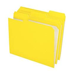 Pendaflex Color Reinforced Top File Folders with Interior Grid, 1/3 Cut, Legal Size, Yellow, Pack of 100