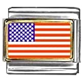 United States Flag Italian Charm Bracelet Link