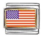 United States Flag Italian Charm Bracelet Link - Charming Links