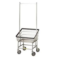 (R&B Wire 200S56 Large Capacity Front Loading Wire Frame Metal Laundry Cart with Double Pole Rack - 3.75 Bushel Capacity - Chrome)