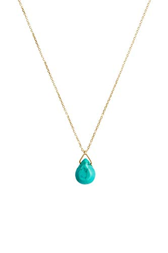 Turquoise Necklace, 9K, 14K, 18K Yellow Gold Necklace, Turquoise Drop Pendant, December Birthstone, Gemstone Necklace/code: 0.002