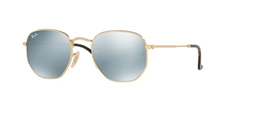 Ray-Ban RB3548N HEXAGONAL 001/30 48M Gold/Grey Flash Sunglasses For Men For ()