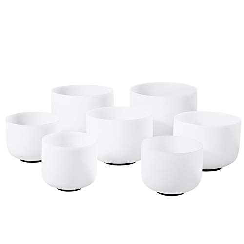 CVNC 440HZ 6-12 Inch Set of 7 PCS Frosted Quartz Crystal Singing Bowl Sound Therapy Meditation