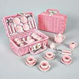 Floss and Rock Think Pink Spotty 17-Piece MINI Ceramic Tea Set in Basket by Floss & Rock