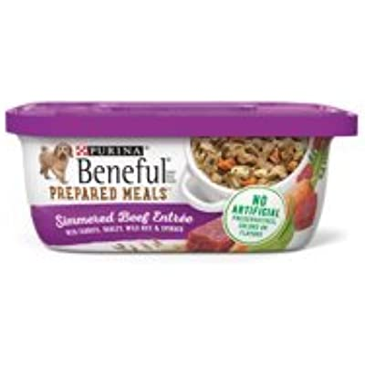 6 Tubs of Purina Beneful Prepared Meals Simmered Beef Entree with Carrots, Barley, Wild Rice & Spinach Adult Wet Dog Food - 10 oz. ea