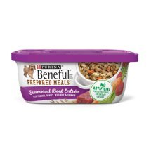 (6 Tubs of Purina Beneful Prepared Meals Simmered Beef Entree with Carrots, Barley, Wild Rice & Spinach Adult Wet Dog Food - 10 oz. ea)