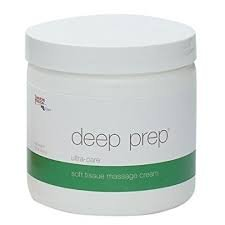 Rolyan Deep Prep Ultra Care Deep Tissue Massage Cream, Hypoallergenic & Odorless Professional Massage Creme for Relaxing Full Body Pain Relief, Unscented & Safe to Use On All Skin Types, 15 Ounce Jar