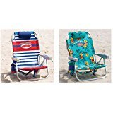 Automotive : 2 Tommy Bahama 2016 Backpack Cooler Beach Chair with Storage Pouch and Towel Bar (Red/White/Blue & Green Floral)